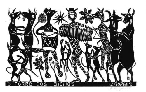 Xilogravura de J. Borges - O Forró dos Bichos